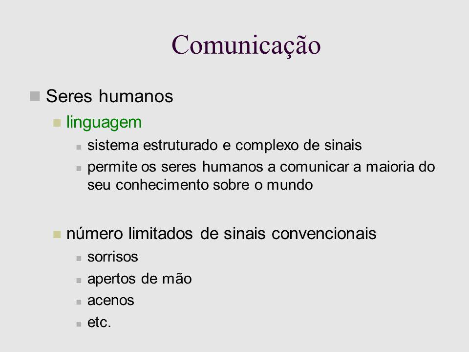 Comunicação Seres humanos linguagem sistema estruturado e complexo de sinais permite os seres humanos a comunicar a maioria do seu conhecimento sobre o mundo número limitados de sinais convencionais sorrisos apertos de mão acenos etc.