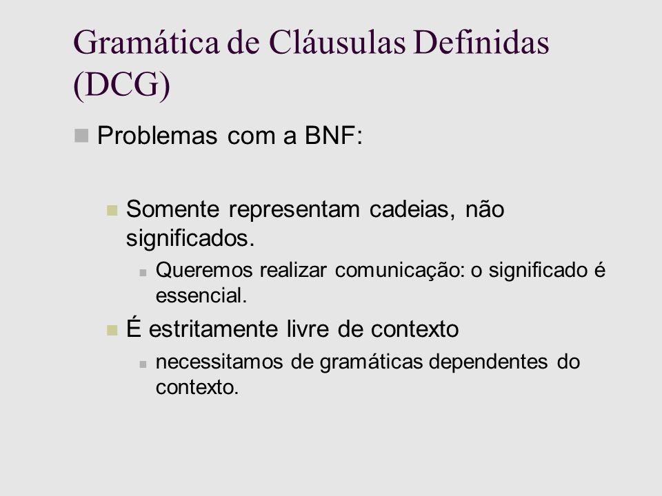 Gramática de Cláusulas Definidas (DCG) Problemas com a BNF: Somente representam cadeias, não significados.