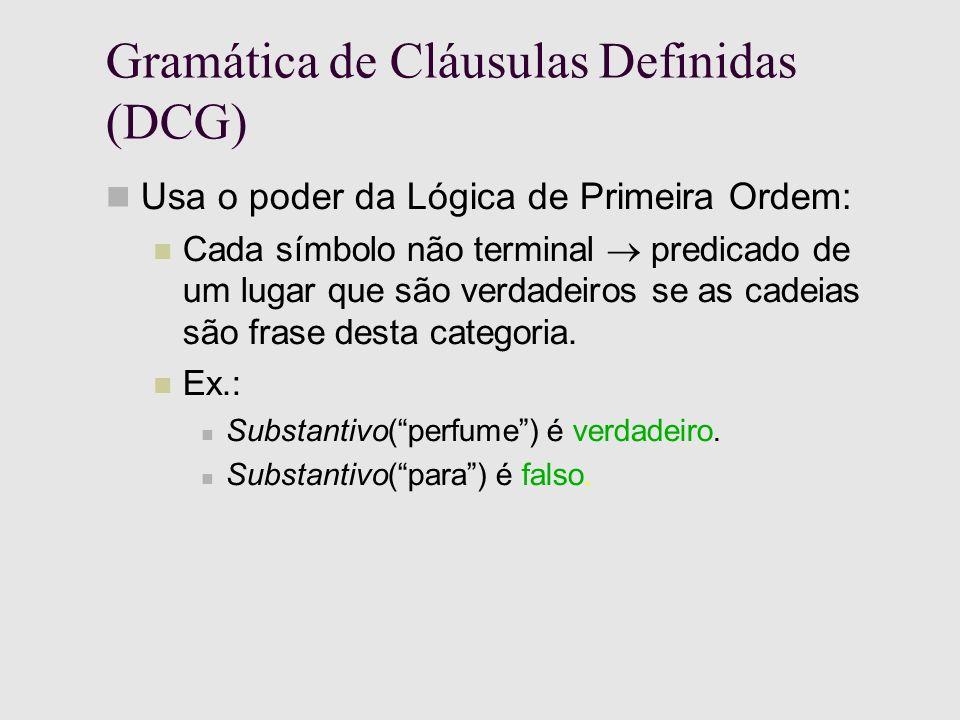 Gramática de Cláusulas Definidas (DCG) Usa o poder da Lógica de Primeira Ordem: Cada símbolo não terminal predicado de um lugar que são verdadeiros se as cadeias são frase desta categoria.