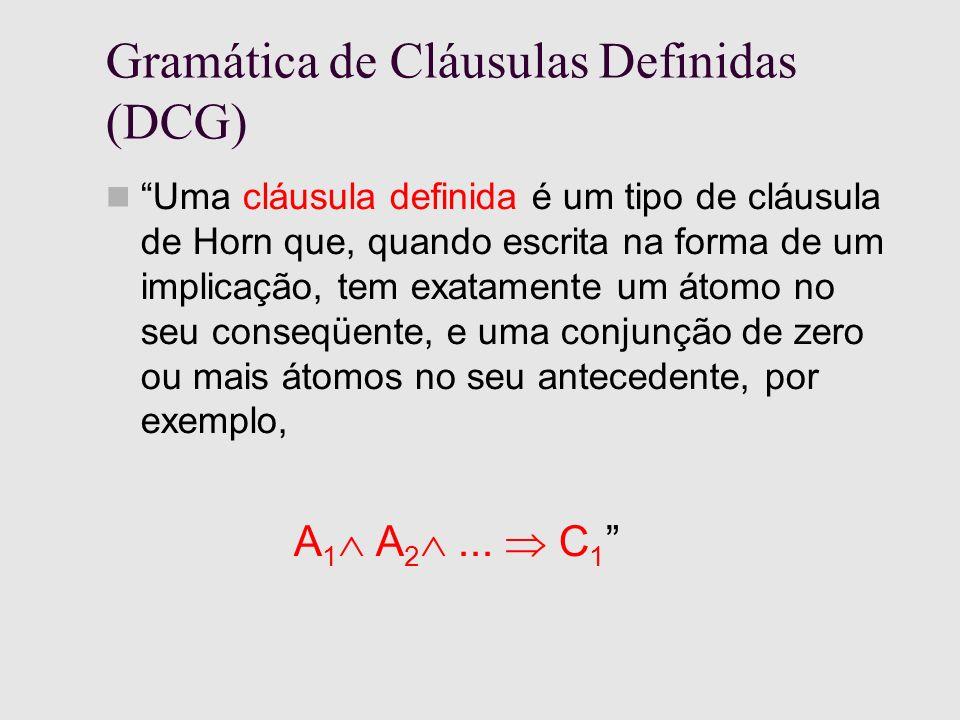 Gramática de Cláusulas Definidas (DCG) Uma cláusula definida é um tipo de cláusula de Horn que, quando escrita na forma de um implicação, tem exatamente um átomo no seu conseqüente, e uma conjunção de zero ou mais átomos no seu antecedente, por exemplo, A 1 A 2...
