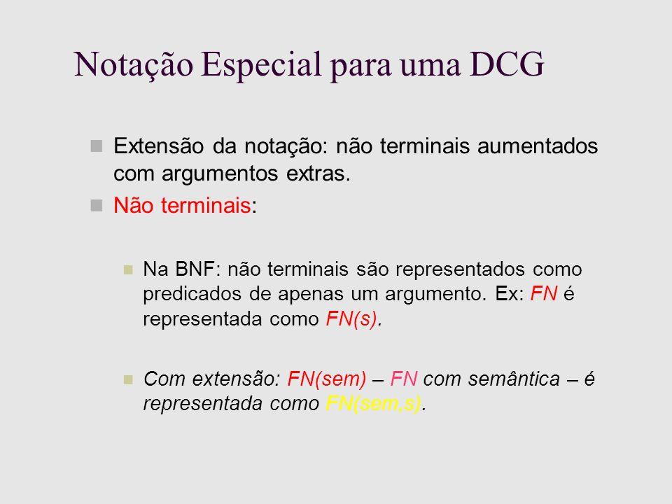 Notação Especial para uma DCG Extensão da notação: não terminais aumentados com argumentos extras.