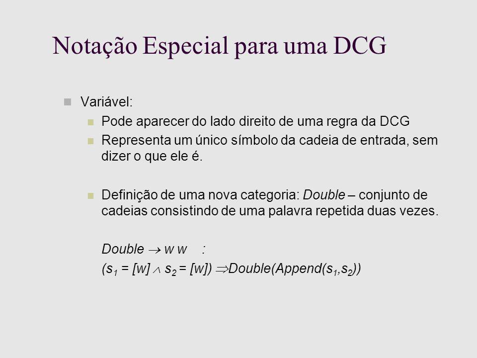Notação Especial para uma DCG Variável: Pode aparecer do lado direito de uma regra da DCG Representa um único símbolo da cadeia de entrada, sem dizer o que ele é.