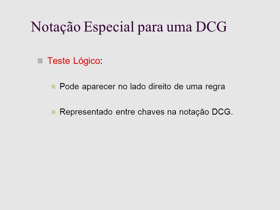 Notação Especial para uma DCG Teste Lógico: Pode aparecer no lado direito de uma regra Representado entre chaves na notação DCG.