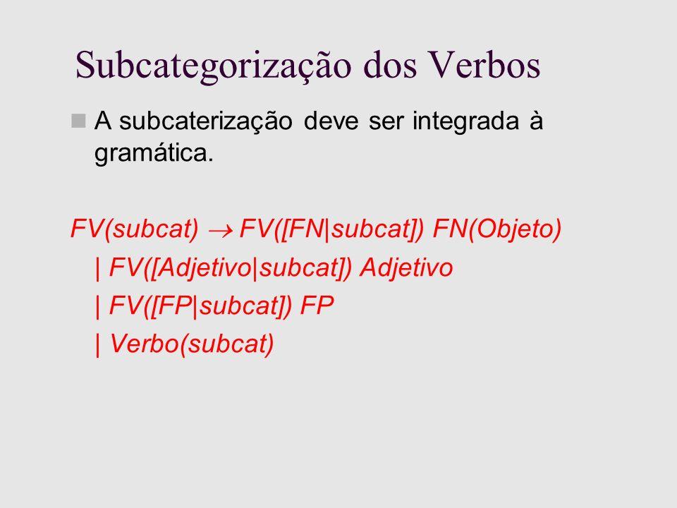 Subcategorização dos Verbos A subcaterização deve ser integrada à gramática.