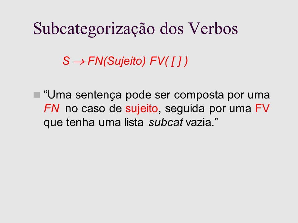 Subcategorização dos Verbos S FN(Sujeito) FV( [ ] ) Uma sentença pode ser composta por uma FN no caso de sujeito, seguida por uma FV que tenha uma lista subcat vazia.