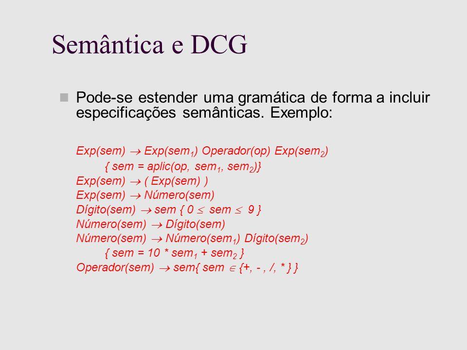Semântica e DCG Pode-se estender uma gramática de forma a incluir especificações semânticas.