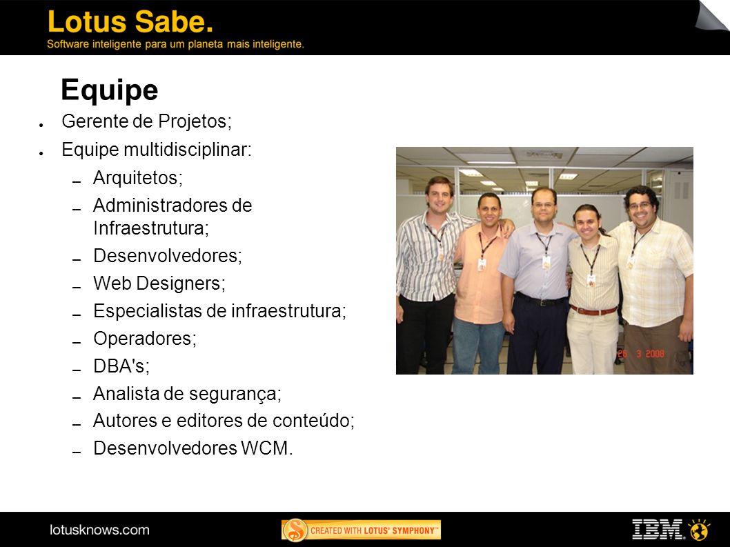 Equipe Gerente de Projetos; Equipe multidisciplinar: Arquitetos; Administradores de Infraestrutura; Desenvolvedores; Web Designers; Especialistas de i