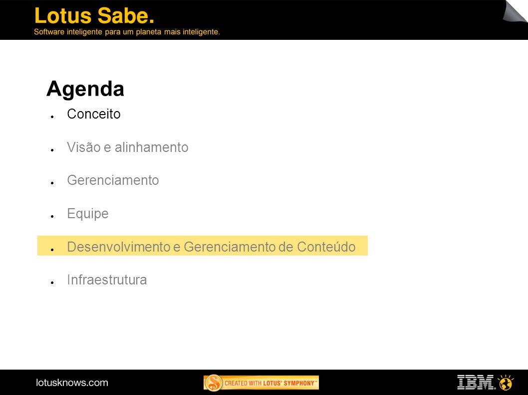 16 Agenda Conceito Visão e alinhamento Gerenciamento Equipe Desenvolvimento e Gerenciamento de Conteúdo Infraestrutura