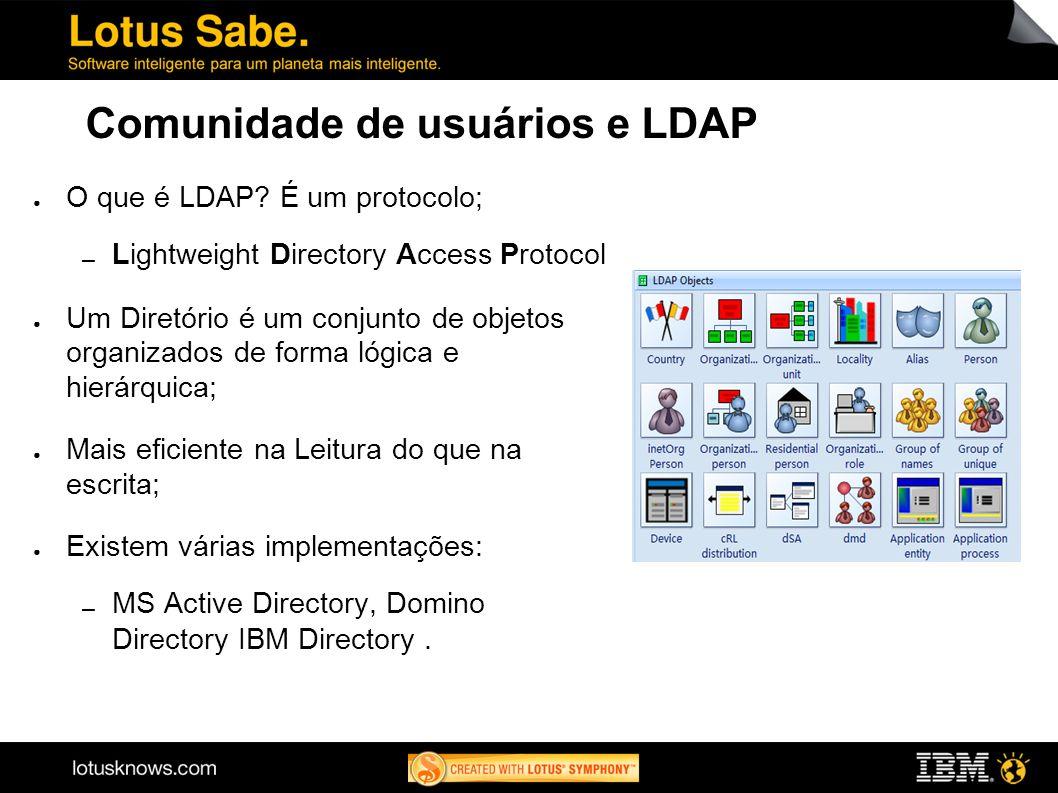 Comunidade de usuários e LDAP O que é LDAP? É um protocolo; Lightweight Directory Access Protocol Um Diretório é um conjunto de objetos organizados de