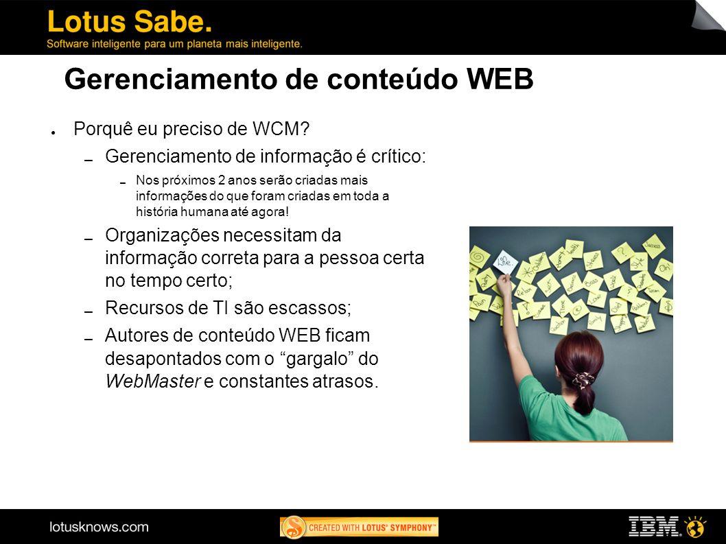 Gerenciamento de conteúdo WEB Porquê eu preciso de WCM? Gerenciamento de informação é crítico: Nos próximos 2 anos serão criadas mais informações do q