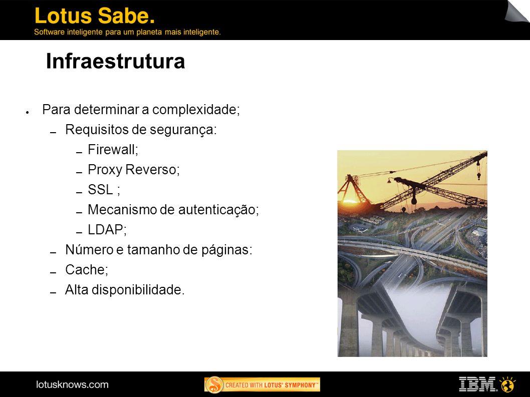 Infraestrutura Para determinar a complexidade; Requisitos de segurança: Firewall; Proxy Reverso; SSL ; Mecanismo de autenticação; LDAP; Número e taman