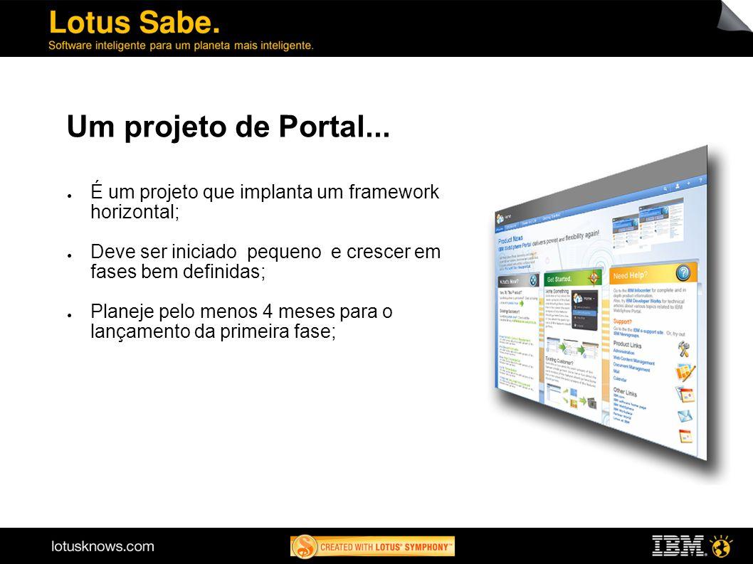 Um projeto de Portal... É um projeto que implanta um framework horizontal; Deve ser iniciado pequeno e crescer em fases bem definidas; Planeje pelo me