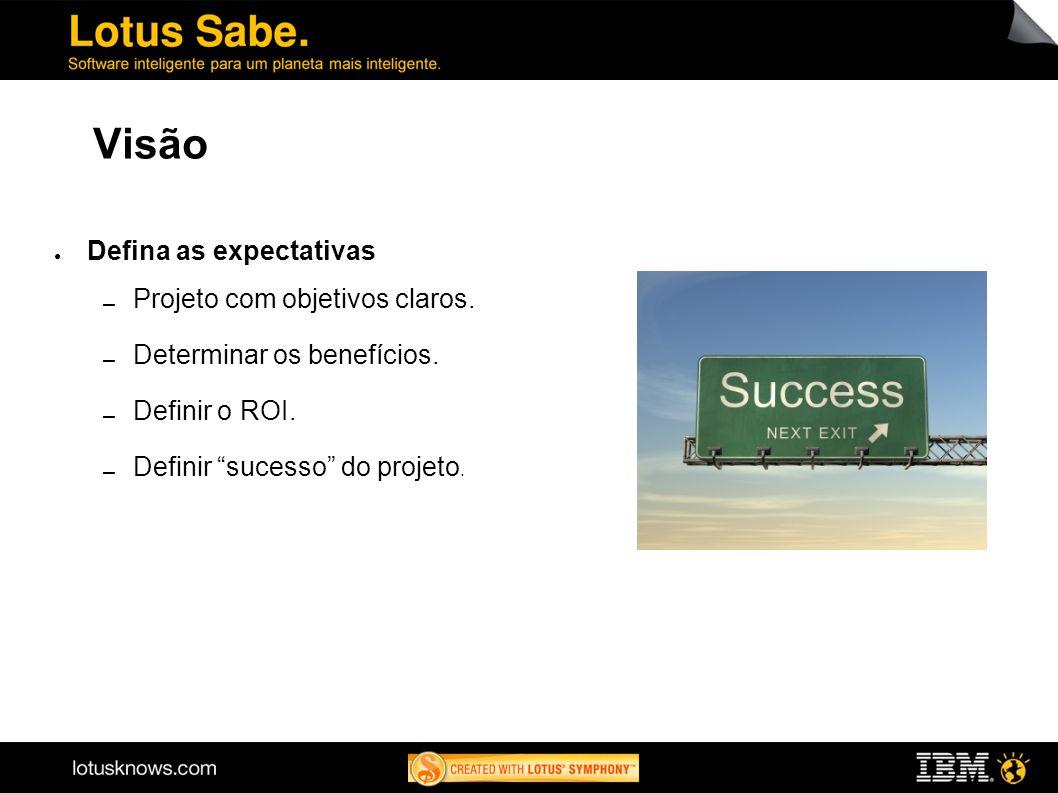 Visão Defina as expectativas Projeto com objetivos claros. Determinar os benefícios. Definir o ROI. Definir sucesso do projeto.