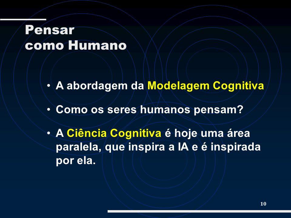 10 A abordagem da Modelagem Cognitiva Como os seres humanos pensam? A Ciência Cognitiva é hoje uma área paralela, que inspira a IA e é inspirada por e