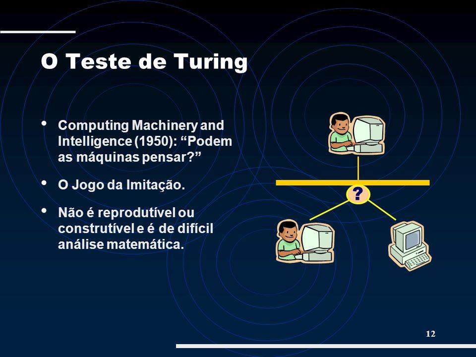 12 O Teste de Turing Computing Machinery and Intelligence (1950): Podem as máquinas pensar? O Jogo da Imitação. Não é reprodutível ou construtível e é