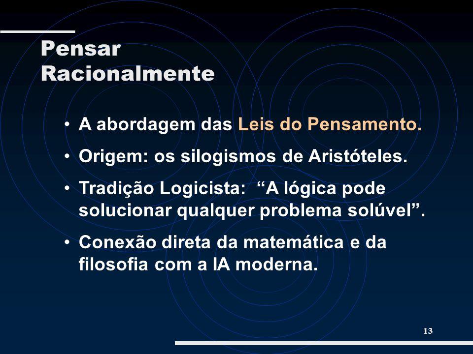 13 A abordagem das Leis do Pensamento. Origem: os silogismos de Aristóteles. Tradição Logicista: A lógica pode solucionar qualquer problema solúvel. C