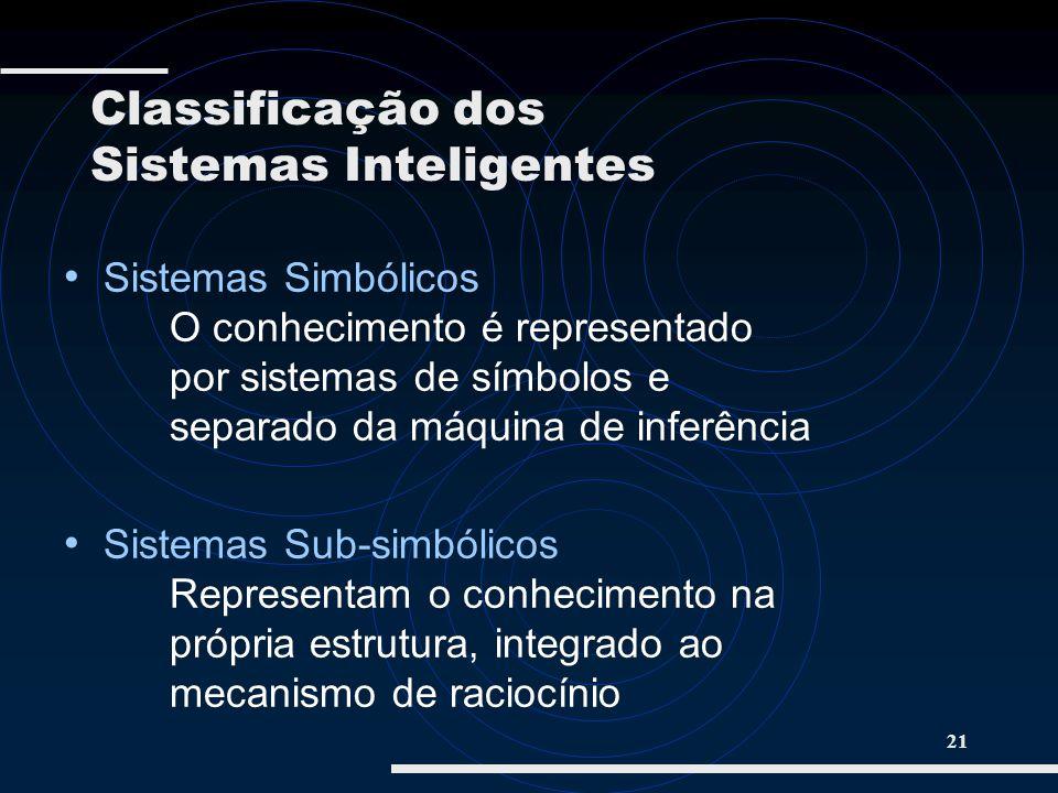 21 Sistemas Simbólicos O conhecimento é representado por sistemas de símbolos e separado da máquina de inferência Sistemas Sub-simbólicos Representam
