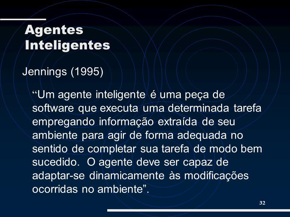 32 Jennings (1995) Um agente inteligente é uma peça de software que executa uma determinada tarefa empregando informação extraída de seu ambiente para