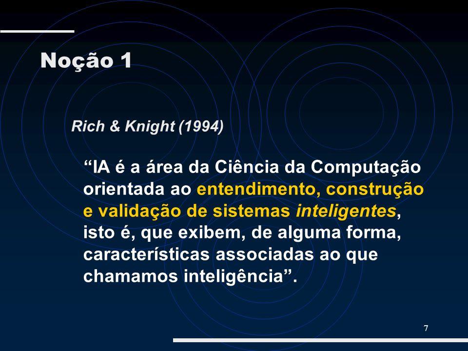 7 Rich & Knight (1994) IA é a área da Ciência da Computação orientada ao entendimento, construção e validação de sistemas inteligentes, isto é, que ex