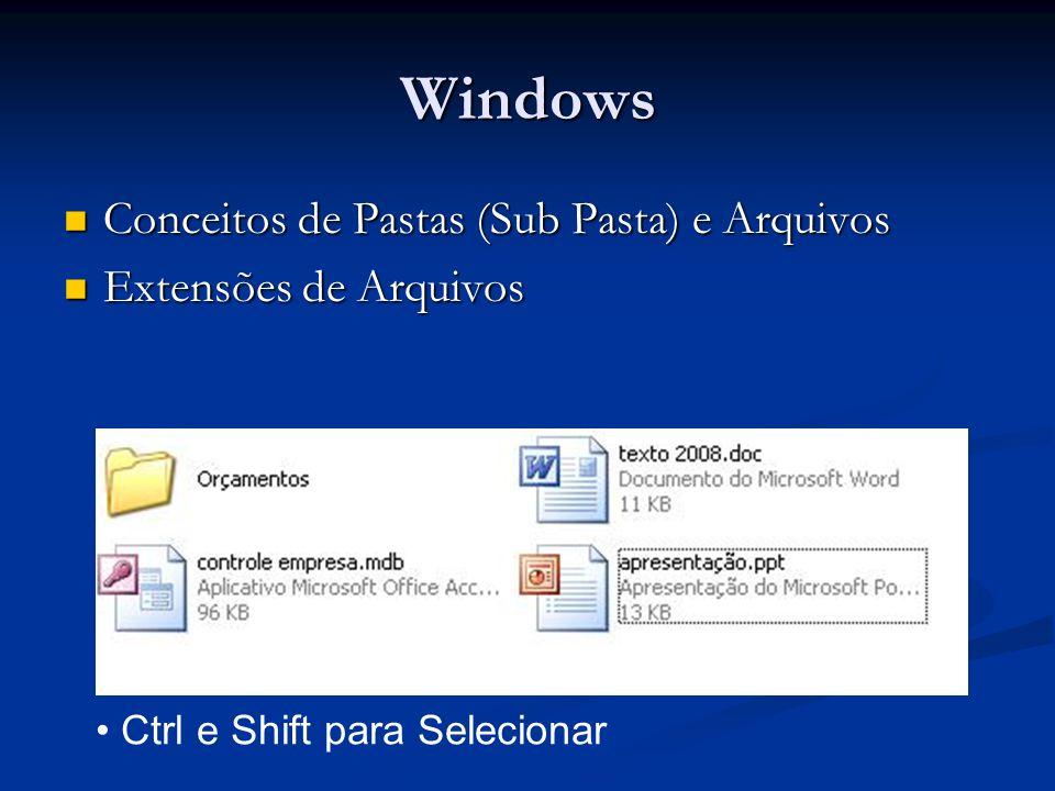 Windows Conceitos de Pastas (Sub Pasta) e Arquivos Conceitos de Pastas (Sub Pasta) e Arquivos Extensões de Arquivos Extensões de Arquivos Ctrl e Shift