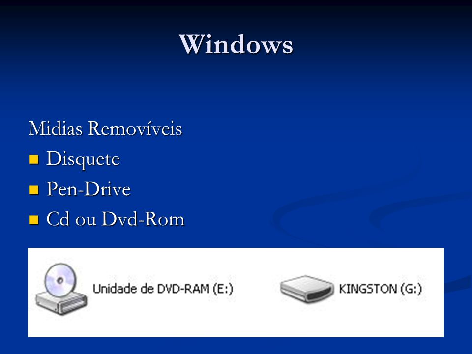 Windows Midias Removíveis Disquete Disquete Pen-Drive Pen-Drive Cd ou Dvd-Rom Cd ou Dvd-Rom