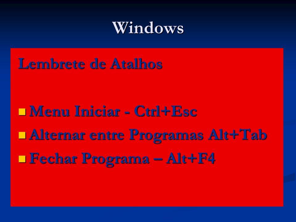 Windows Lembrete de Atalhos Menu Iniciar - Ctrl+Esc Menu Iniciar - Ctrl+Esc Alternar entre Programas Alt+Tab Alternar entre Programas Alt+Tab Fechar P