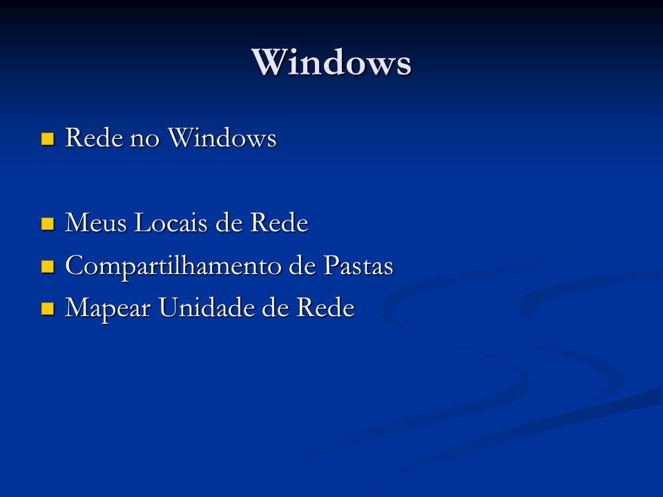 Windows Rede no Windows Rede no Windows Meus Locais de Rede Meus Locais de Rede Compartilhamento de Pastas Compartilhamento de Pastas Mapear Unidade d