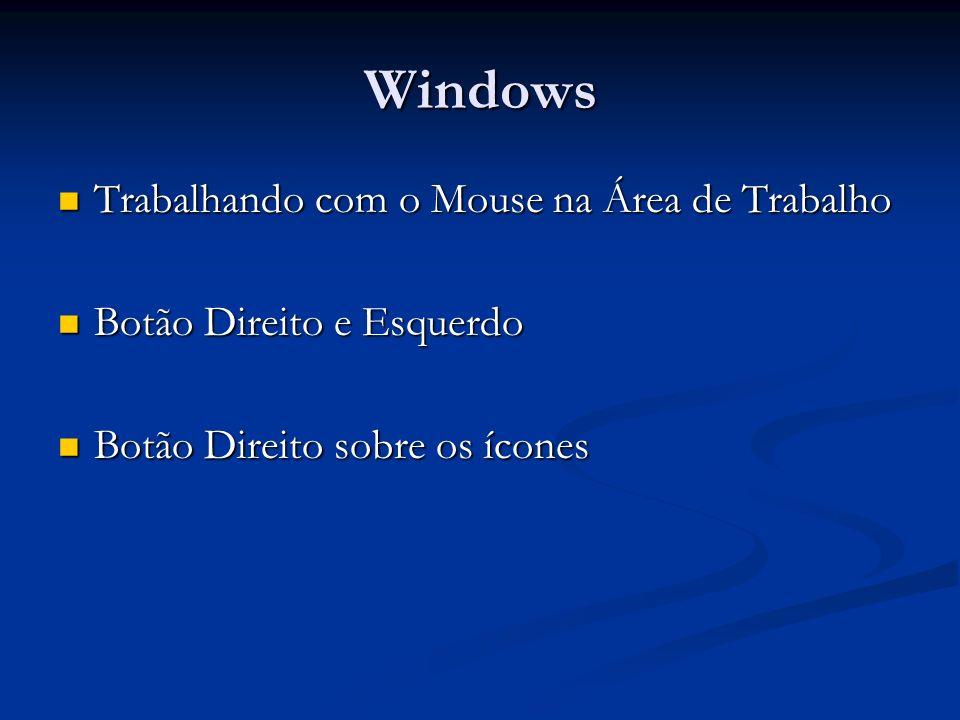 Windows Trabalhando com o Mouse na Área de Trabalho Trabalhando com o Mouse na Área de Trabalho Botão Direito e Esquerdo Botão Direito e Esquerdo Botã