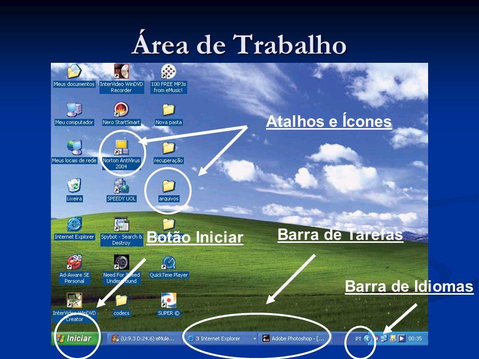 Área de Trabalho Atalhos e Ícones Barra de Tarefas Botão Iniciar Barra de Idiomas
