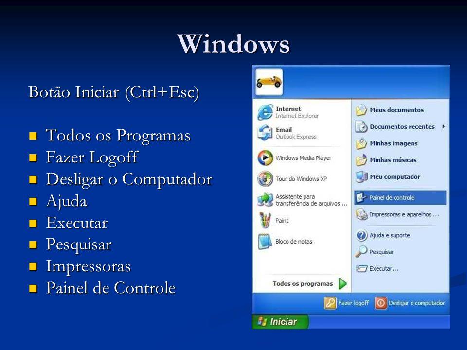 Windows Janelas (Alt+Espaço) Minimizar Maximizar e Restaurar Barra de Titulos Mover e Redimensionar Janela Arquivo (Salvar, Abrir)