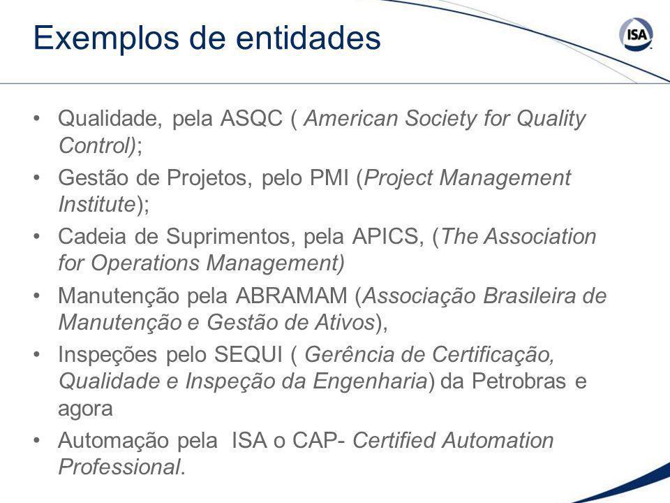 Exemplos de entidades Qualidade, pela ASQC ( American Society for Quality Control); Gestão de Projetos, pelo PMI (Project Management Institute); Cadei