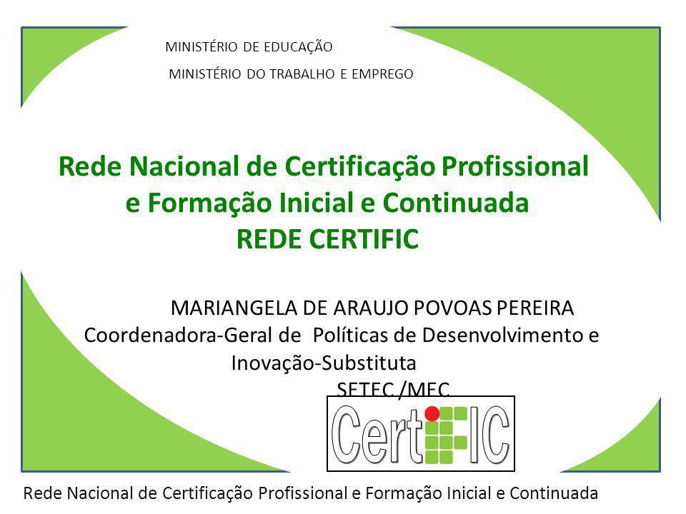 / Rede Nacional de Certificação Profissional e Formação Inicial e Continuada MINISTÉRIO DE EDUCAÇÃO MINISTÉRIO DO TRABALHO E EMPREGO SANTA CATARINA Re