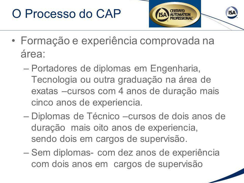 O Processo do CAP Formação e experiência comprovada na área: –Portadores de diplomas em Engenharia, Tecnologia ou outra graduação na área de exatas –c