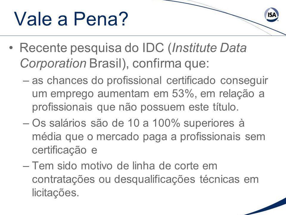 Vale a Pena? Recente pesquisa do IDC (Institute Data Corporation Brasil), confirma que: –as chances do profissional certificado conseguir um emprego a