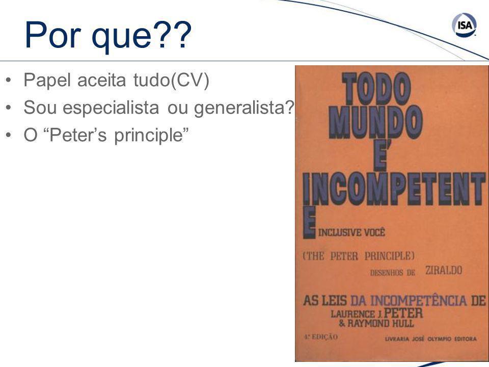Por que?? Papel aceita tudo(CV) Sou especialista ou generalista? O Peters principle