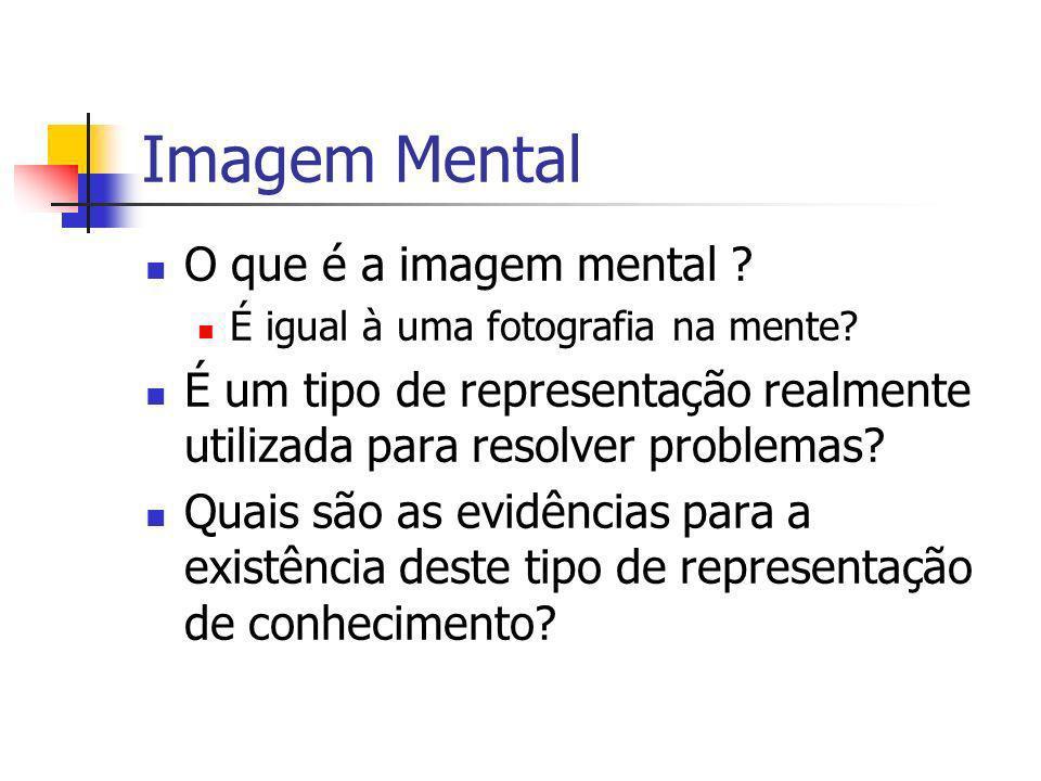Imagem Mental O que é a imagem mental ? É igual à uma fotografia na mente? É um tipo de representação realmente utilizada para resolver problemas? Qua
