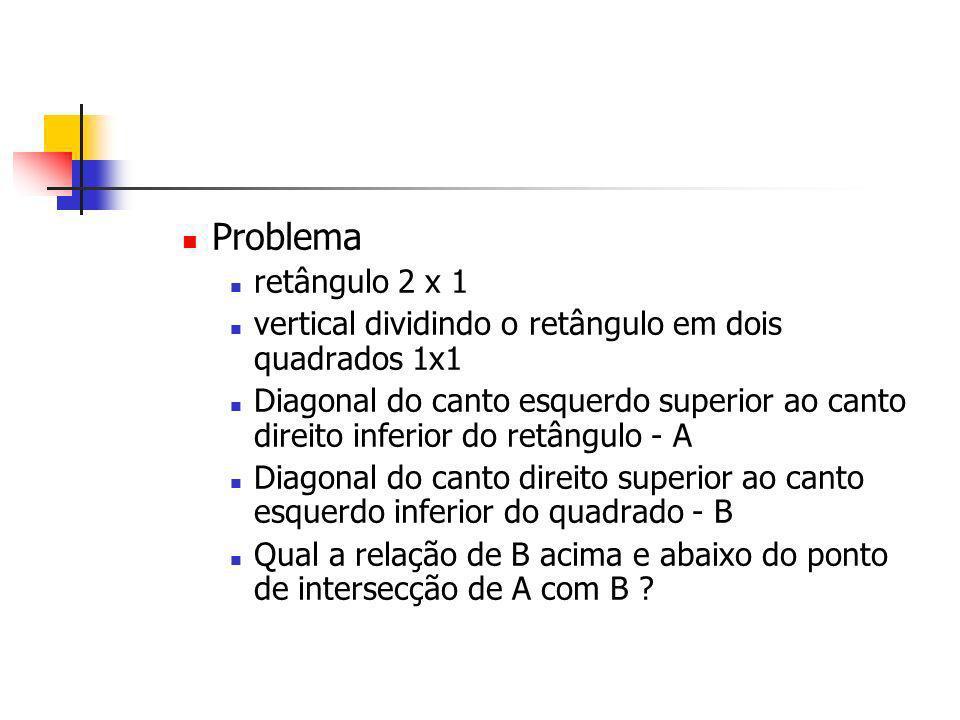 Problema retângulo 2 x 1 vertical dividindo o retângulo em dois quadrados 1x1 Diagonal do canto esquerdo superior ao canto direito inferior do retângu
