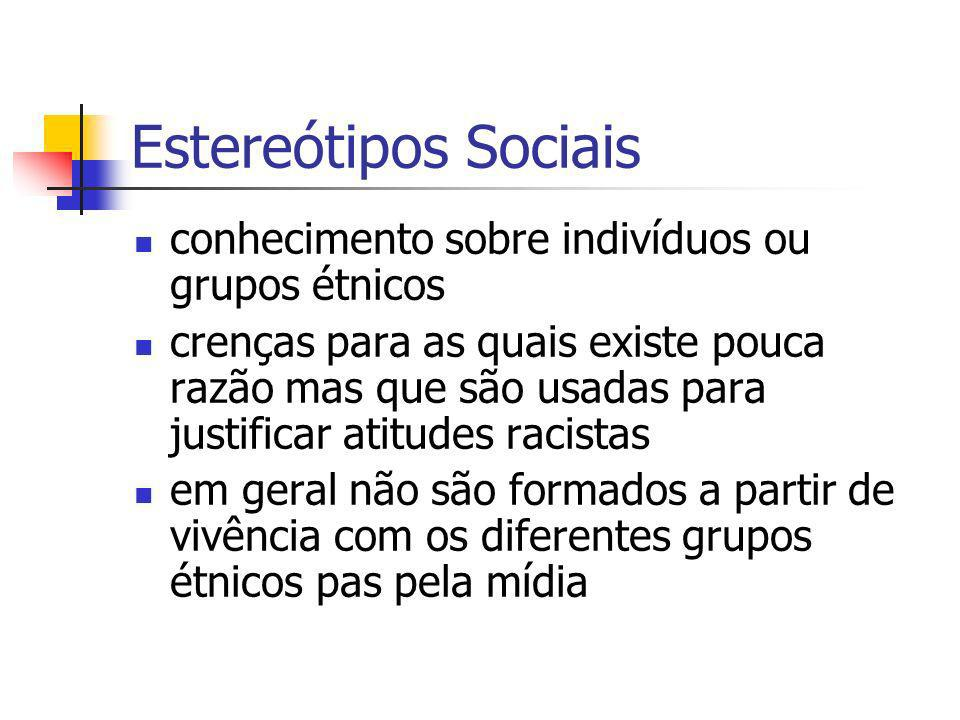 Estereótipos Sociais conhecimento sobre indivíduos ou grupos étnicos crenças para as quais existe pouca razão mas que são usadas para justificar atitu