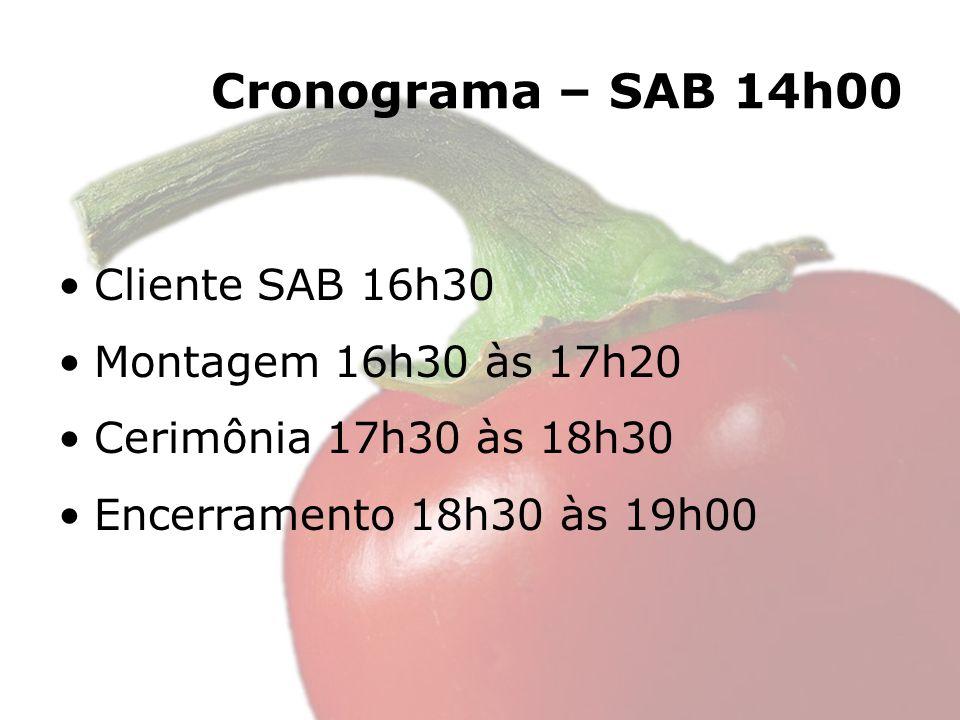 Cronograma – SAB 14h00 Cliente SAB 16h30 Montagem 16h30 às 17h20 Cerimônia 17h30 às 18h30 Encerramento 18h30 às 19h00