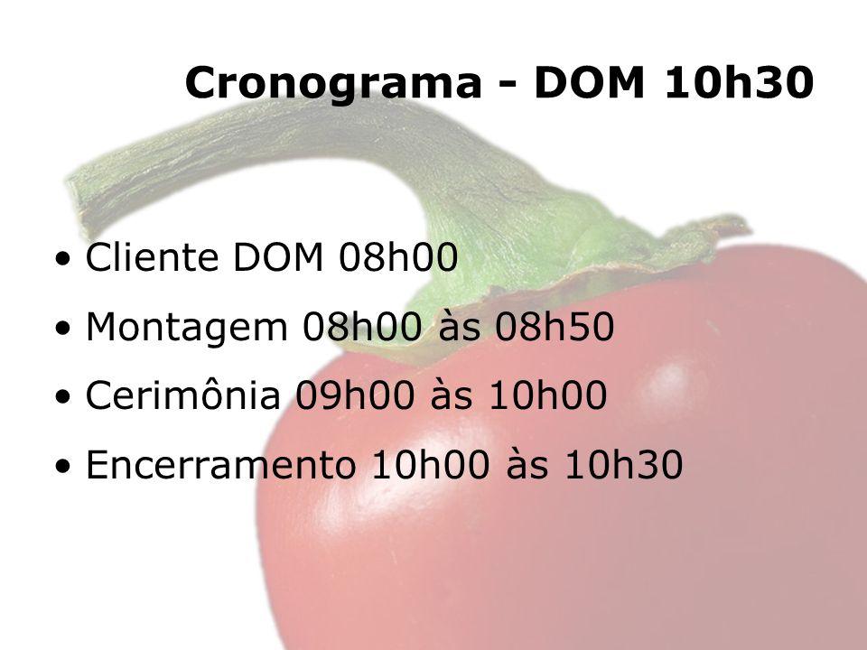 Cronograma - DOM 10h30 Cliente DOM 08h00 Montagem 08h00 às 08h50 Cerimônia 09h00 às 10h00 Encerramento 10h00 às 10h30