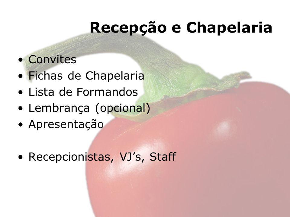 Recepção e Chapelaria Convites Fichas de Chapelaria Lista de Formandos Lembrança (opcional) Apresentação Recepcionistas, VJs, Staff
