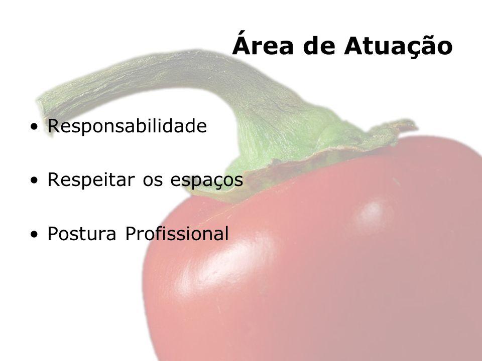 Área de Atuação Responsabilidade Respeitar os espaços Postura Profissional