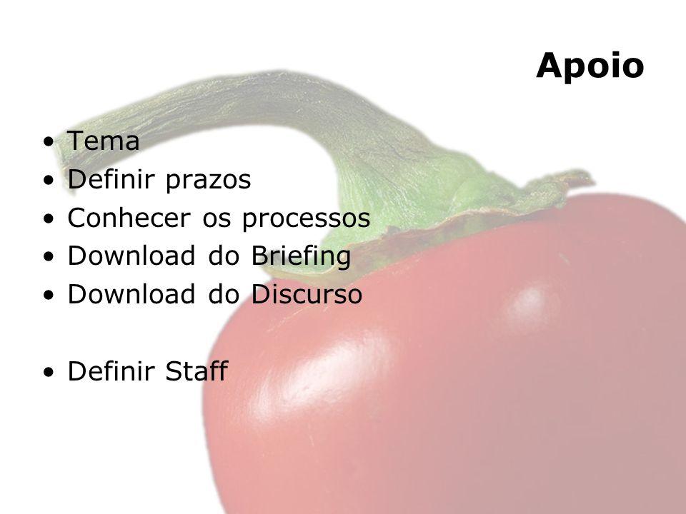 Apoio Tema Definir prazos Conhecer os processos Download do Briefing Download do Discurso Definir Staff