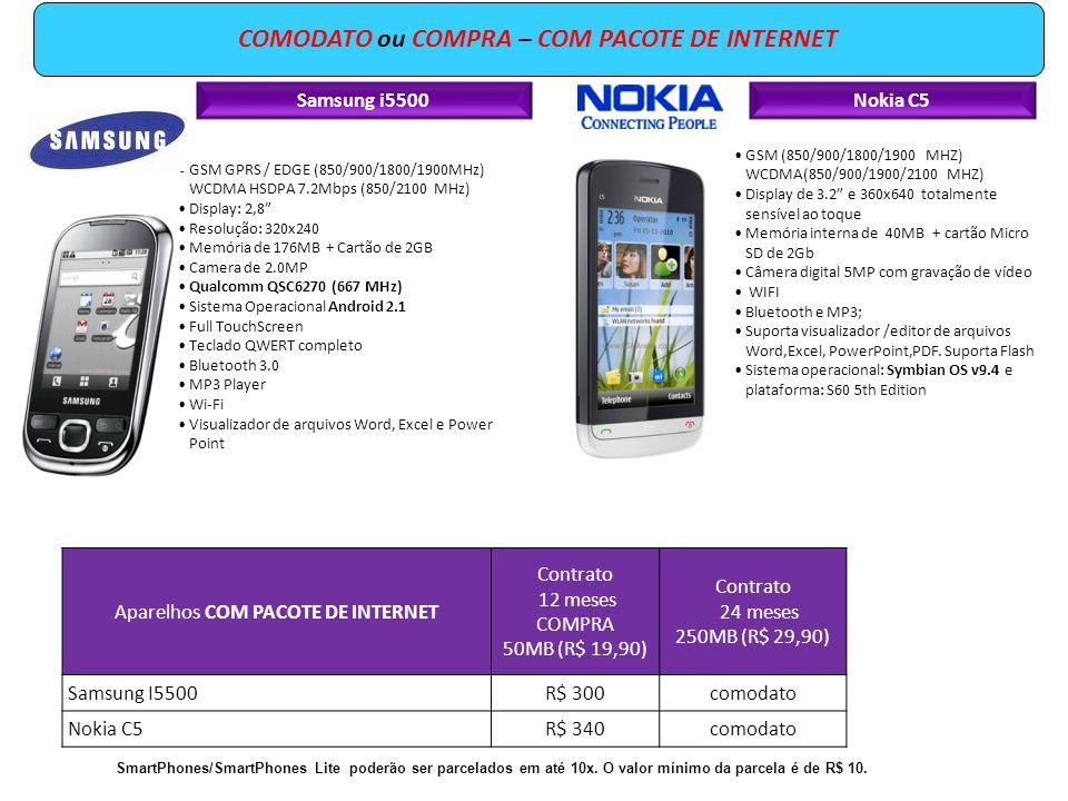 Samsung i5500 GSM GPRS / EDGE (850/900/1800/1900MHz) WCDMA HSDPA 7.2Mbps (850/2100 MHz) Display: 2,8 Resolução: 320x240 Memória de 176MB + Cartão de 2