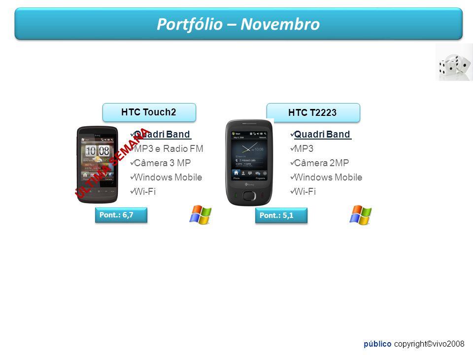 público copyright©vivo2008 Portfólio – Novembro HTC Touch2 Pont.: 6,7 Quadri Band MP3 e Radio FM Câmera 3 MP Windows Mobile Wi-Fi HTC T2223 Pont.: 5,1 Quadri Band MP3 Câmera 2MP Windows Mobile Wi-Fi ÚLTIMA SEMANA