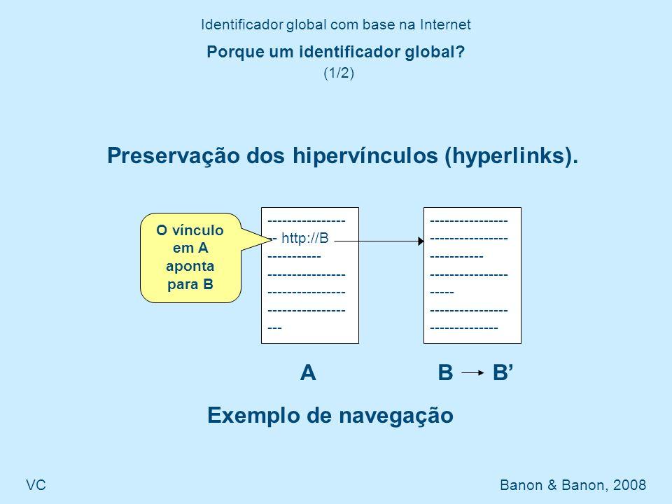 Identificador global com base na Internet VC Banon & Banon, 2008 Comparação com o Handle System® e o DOI® (2/2) Na URLib, o sufixo é padrão, assim um prefixo pode facilmente ser reaproveitado.