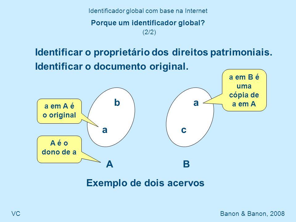 Identificador global com base na Internet VC Banon & Banon, 2008 Questões em aberta (1/1) Os metadados devem ser padronizados.