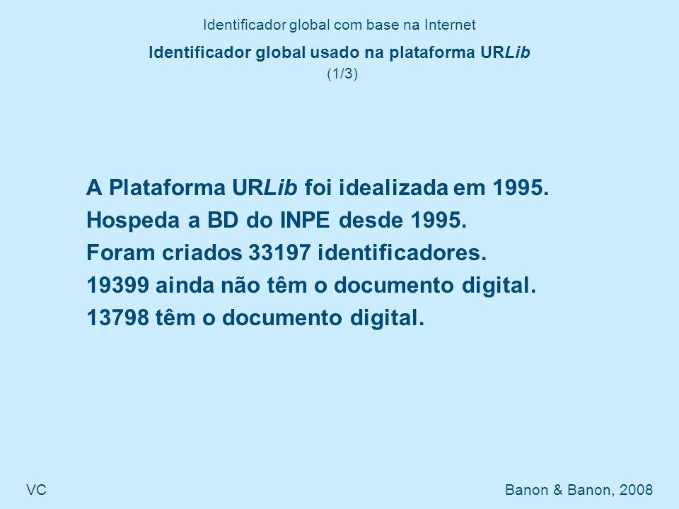 Identificador global com base na Internet VC Banon & Banon, 2008 Identificador global usado na plataforma URLib (2/3) Exemplo de vínculo persistente na URLib Resolvedor Identificador http://urlib.net/sid.inpe.br/md-m09@80/2008/04.14.11.53 Prefixo Sufixo Metadados: http://urlib.net/sid.inpe.br/md-m09@80/2008/04.14.11.53??
