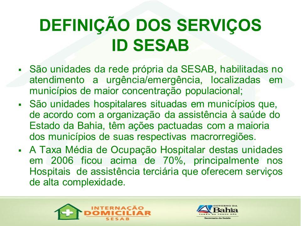 DEFINIÇÃO DOS SERVIÇOS ID SESAB São unidades da rede própria da SESAB, habilitadas no atendimento a urgência/emergência, localizadas em municípios de