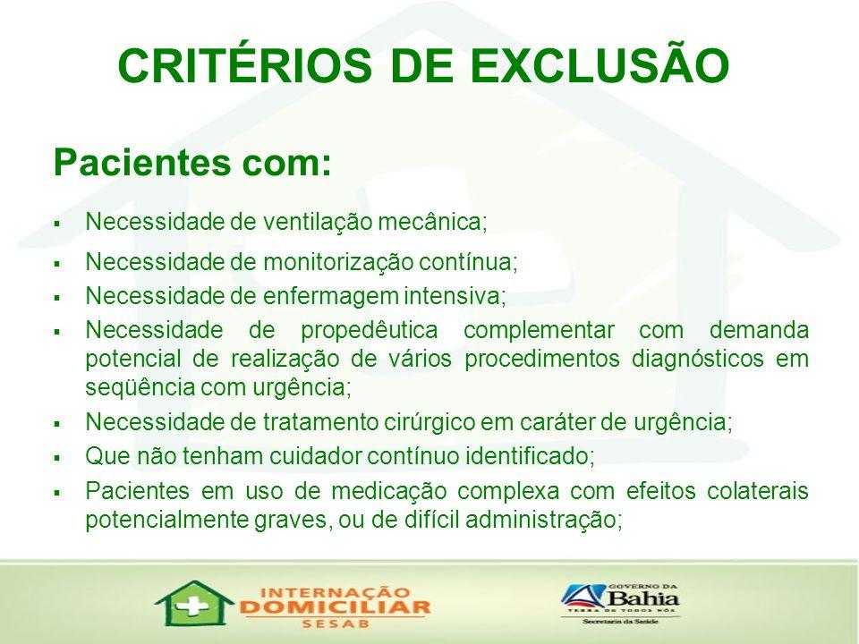 CRITÉRIOS DE EXCLUSÃO Pacientes com: Necessidade de ventilação mecânica; Necessidade de monitorização contínua; Necessidade de enfermagem intensiva; N